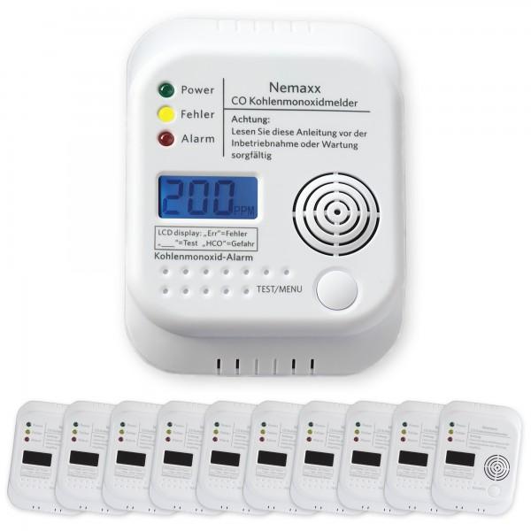 10x Nemaxx CO Melder Kohlenmonoxid Gasmelder Gaswarner Rauchmelder nach DIN EN50291